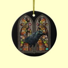 Raven Stained Glass Blessed Samhain Round Ornament decoration by XG Designs NYC. $18.75 The back of ornament reads Blessed Samhain and the year in orange. (also available in heart, and star shapes)