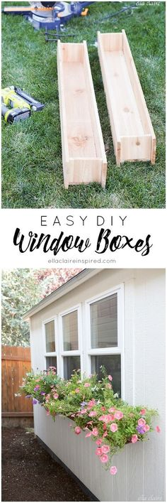 Throw together these easy DIY window boxes to add charm to your home or She Shed! Window Box Diy, Cedar Window Boxes, Window Planter Boxes, Window Boxes Summer, Planter Ideas, Hanging Window Boxes, Shed Windows, Old Wood Windows, Diy Windows