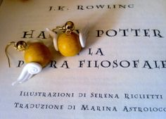"Orecchini in Fimo ""Boccino D'Oro"" Harry Potter, by Pink Sweet Popps, 3,00 € su misshobby.com"