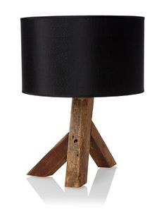 "Unysn Elm Table Lamp  Repurposed wood tripod base, single rocker switch, protective feet on base, uses a 60 watt max type A bulb, shade is approximately 10""h x 16.5""w  Dimensions: height 14.75"", width 13.5"", depth 13.5""  Material type: Wood and metal  $89"