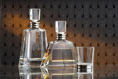 Silver & Crystal Art Deco Style Decanter (Wine / Spirits / Whisky / Port / Sherry) www.jbsilverware.co.uk JB Silverware New Bond St, London, UK