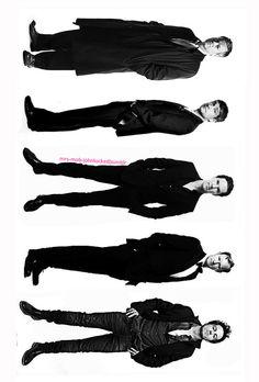 Lestrade, Watson, Sherlock, Mycroft, and Moriarty. The Sherlock men! I love Andrew Scott in his Canadian tuxedo.