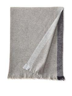 Belle Epoque Bordered Cashmere Throw (Grey/Navy)