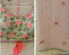 Sea green blouse n pastel pink sari. Beautiful!!