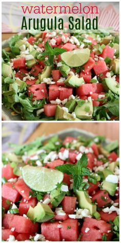 Watermelon Arugula Salad - Watermelon makes for a great refreshing salad! Perfect for the summer months ahead!  Summer is the best with lots of fresh vegetables like this super sweet corn salad! Perfect for your outdoor dinning experience.   Find this and 200+ Salads and Easy Homemade Dressings Recipes - Healthy Eating made easy!   CeceliasGoodStuff.com | Good Food for Good People