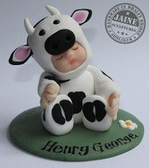 Baby Cow! (Jaine's Peeps) Tags: noah birthday girls boy sculpture baby white black boys girl cake cow polymerclay fimo figure christening sculpey calf ark toppers topper polymer