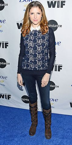 Last Night's Look: Love It or Leave It? | ANNA KENDRICK | In case you've missed it the first 30 times we've said it, lace is everywhere. Anna demonstrates how to wear it in chilly temps via a Tory Burch sweater over a collared shirt, jeans and lace-up knee-highs at the Women at Sundance brunch in Park City, Utah.