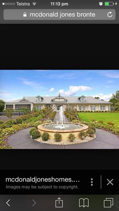Facade Bronte House, Facade, Fountain, House Design, Mansions, House Styles, Outdoor Decor, Image, Home Decor