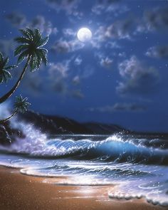 Murals Your Way has some amazing wall murals for decorating - all sizes and you can use your own photos! Easy Landscape Paintings, Seascape Paintings, Beautiful Nature Pictures, Beautiful Moon, Murals Your Way, Hawaiian Art, Moon Pictures, Tropical Art, Beach Scenes