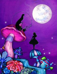 Alice in Wonderland with Caterpillar - Whimsical Colorful Fantasy Wall Art - Giclee Painting Print by Annya Kai