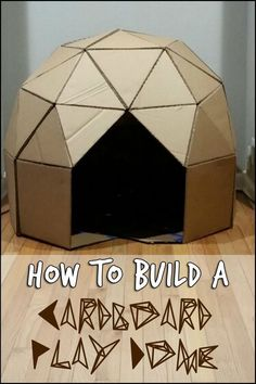 Keep The Kids Entertained by Building This Awesome Geodesic Playhouse From Cardboard! Keep The Kids Entertained by Building This Awesome Geodesic Playhouse From Cardboard! Cardboard Houses For Kids, Cardboard Crafts Kids, Cardboard Playhouse, Crafts For Kids, Cardboard Box Ideas For Kids, Cardboard Tubes, Cardboard Castle, Paper Crafts, Projects For Kids
