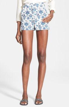 Women's Tamara Mellon Print High Waisted Silk Georgette Shorts