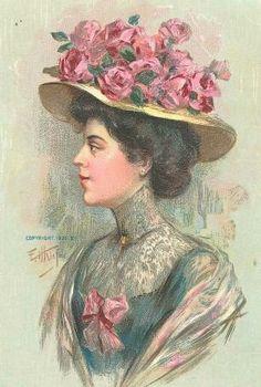 Decoupage Ladies - Home & Garden - Picasa Web Albums Art Vintage, Vintage Prints, Vintage Theme, Decoupage, Rose Hat, Victorian Women, Edwardian Era, Vintage Pictures, Free Pictures