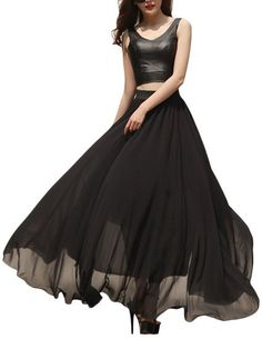 VOGLLY Women's Solid Full Length High Waist Long Maxi Boho Beach Chiffon Skirt |