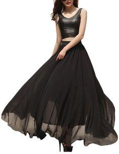 VOGLLY Women's Solid Full Length High Waist Long Maxi Boho Beach Chiffon Skirt |