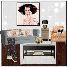 """Peach and Grey Living Room"" by Kristen Velasco."