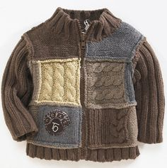 """Photo from album """"D-sp-Jackets with knitting needles (Jackets, cardigans, blouses with knitting needles)"""" on Yandex. Baby Boy Knitting, Knitting For Kids, Kids Knitting Patterns, Knit Baby Sweaters, Crochet For Boys, Baby Cardigan, Crochet Fashion, Knitting Needles, Pulls"""