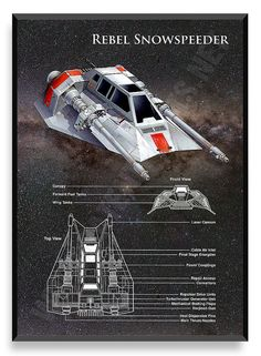Rebel Snowspeeder Poster Star Wars Ship by PatentPrintsPosters
