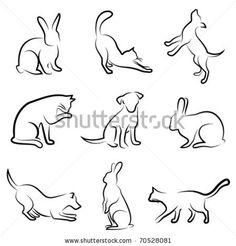 dog, cat, rabbit animal drawing vector by sabri deniz kizil, via ShutterStock