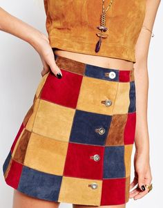 Image 3 of ASOS TALL A-Line Skirt With Patchwork Suede With Button Through