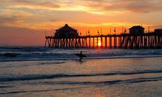 california 6 states | Sunset At The Huntington Beach Pier , California ,united States