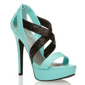Tiffany Blue Heels with Black Straps