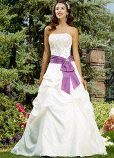 wedding dress with purple sash