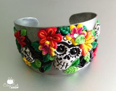 Frida Day of the Dead Skulls bracelet - polymer clay OOAK - on etsy