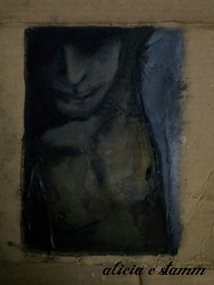 portrait on cardboard -- charcoal, watercolor, and wax -- Alicia Stamm