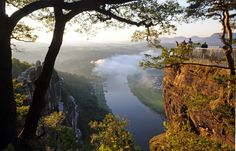 Panoramic views from the Bastei to the river Elbe