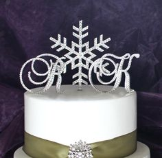 Snowflake & Monogram Swarovski Crystal Winter by InitialMoments