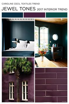 #carolinececiltextiles | color trend 2017 | trend | interior design trend | ss17 | aw17 | aw18 | fashion trends | color palette | interiors | jewel tones | purple | aubergine | plum | green | greenery | navy | midnight blue