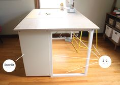 Custom DIY Sewing/Cutting Table Start with Ikea Expedit.