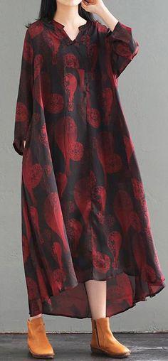 b7359d91f8d10 Women silk tunics for women Stitches Retro Women Spring Loose Print Dress  Cotton On Outfits