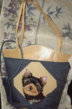 Yorkshire Terrier Yorkie Dog Painted Denim by daniellesoriginals, $29.00