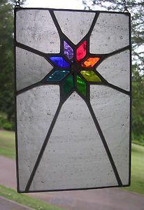 Starshine! Rainbow & Ice White Stained Glass Panel Window - pewtermoonsilver | eBay