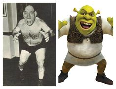 Not quite as scary as one would think, Maurice Tillet and Shrek