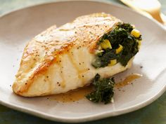Spicy Kale and Corn Stuffed Chicken Breasts recipe from Food Network Kitchen via…