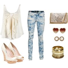 """""""Sophicasted Bleached Jeans"""" by dominiquee920 on Polyvore"""