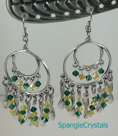 Green and Gold Swarovski Crystal Dangle Earrings Hand Wrapped  - Pewter Chandeliers & Waves -Go Packers! Fun Fall Colors! by SpangleCrystals…