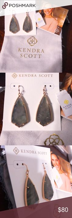 """NWT Kendra Scott Gray Illusion Carla Earrings NWT Kendra Scott Crystal Gray Illusion Carla Drop Earrings  Our custom kite silhouette teams up with a delicate metallic frame to create the Carla Drop Earrings in Crystal Gray Illusion. BRAND NEW WITH TAG!  • 14K Rose Gold Plated Over Brass • 1.85""""L x 0.72""""W on earwire • crystal gray illusion  * comes with the KS jewelry pouch, earring card and care card.  * Smoke free home.  * I ship on a same day/next day basis depending on when you purchase…"""
