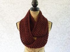 Ready To Ship Infinity Scarf Crochet Knit by SouthernStitchesCo