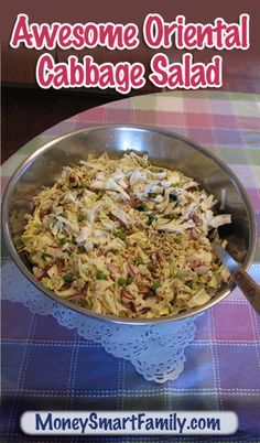 Oriental Cabbage Salad. This is one of our all-time favorite salads to have any time of year!  Easy to make and great for taking to pot-lucks, big events, entertaining or as a side dish for dinner.