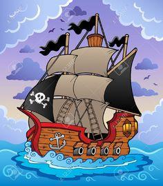 Barco Pirata En El Mar Tormentoso.