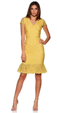 3ffbf545cc3 Figure-shaping trim accentuates your curves on this eyelash lace sheath  dress with a v neckline and ruffle hem. Fully lined. Hidden back zip nylon  Imported ...