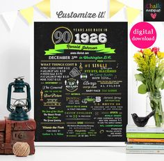 DIGITAL // 90th Birthday Sign Poster Wall Art Custom Any Color // 1926 Events and Stats #1012015C