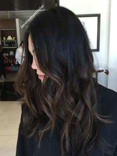 Dark Balayage, Brown Hair Balayage, Asian Balayage, Subtle Balayage Brunette, Partial Balayage, Partial Highlights, Hair Color For Black Hair, Black Hair Ombre, Bayalage On Dark Hair