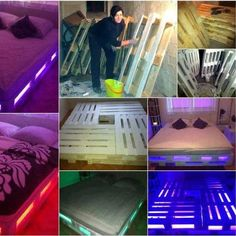 """Lighted wooden pallet bed - from """" Wood Pallet Projects: Cool and Easy-to-Make Projects for the Home and Garden"""" by Chris Gleason http://sphotos-b.xx.fbcdn.net/hphotos-ash3/c134.0.403.403/p403x403/602869_223683701107505_1858538306_n.jpg"""