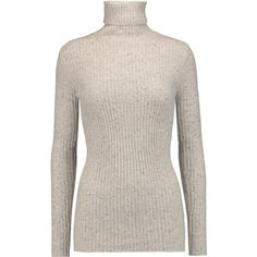 Autumn Cashmere - Ribbed Cashmere Turtleneck Sweater (570 BRL) ❤ liked on Polyvore featuring tops, sweaters, blusa, jumpers, light gray, cashmere turtleneck sweater, stripe cashmere sweater, striped turtleneck, striped turtleneck sweaters and ribbed cashmere sweater