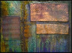 Indigo Lights Abstract Art by Brian Giberson 'Angels ex Machina' (Copper, Textured Gesso, Acrylic on Canvas)